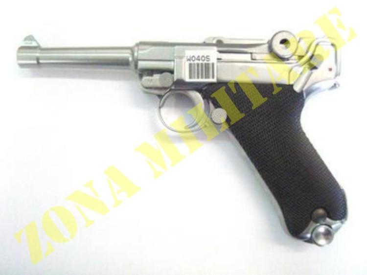 PISTOLA MARCA WE MODELLO LUGER P08 SILVER GAS